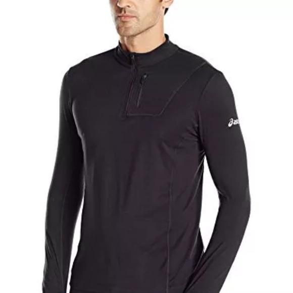 66eaf510db Asics Shirts   Mens Team 12 Zip Long Sleeve Top Black   Poshmark